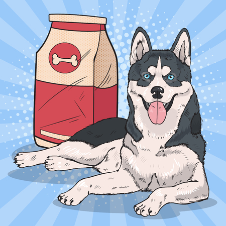 Pop art husky dog with big food pack.
