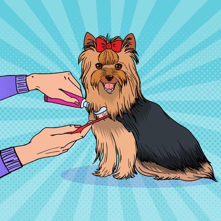 歯磨き粉付きの歯ブラシを持つポップアート女性の手。歯を磨くヨークシャーテリア。ペットの健康管理。  イラスト・ベクター素材