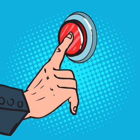 Pop art male hand pressing a big red button. Emergency call, vector illustration. Иллюстрация