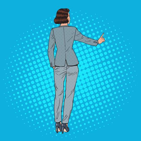 Pop art business woman pressing imaginary virtual button.