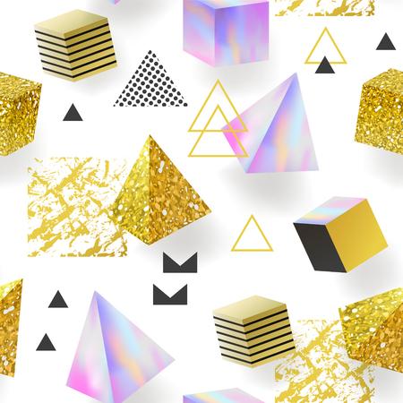 トレンディな黄金キラキラ メンフィス シームレス パターン。幾何学的な要素を持つ光沢のある背景。テキスタイル、ポスター、プリントの魅力の