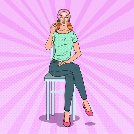 Popart mooie vrouw toepassing van contouren make-up. Huidverzorging schoonheid Concept. Vector illustratie. Stock Illustratie