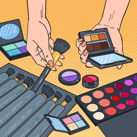 Pop Art Female Hands with Cosmetics. Professional Make-up Beauty Products Concept. Visage Artist. Vector illustration.