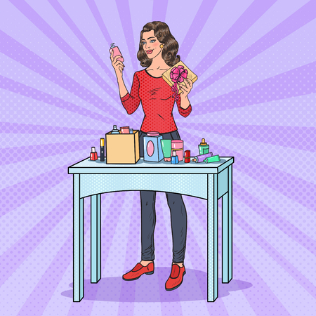 Pop Art Beautiful Woman with Gift Box and Cosmetics. Beauty Presents. Vector illustration.