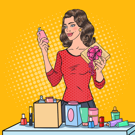 Pop Art Beautiful Woman with Wrapping Cosmetics in Gift Box. Beauty Presents. Vector illustration.