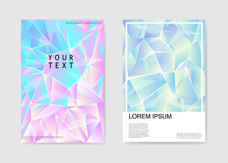 Abstract Posters Covers Triangular Hologram Design. Geometric Shapes Brochure Template. Banner Identity Card Design. Vector illustration. Illustration