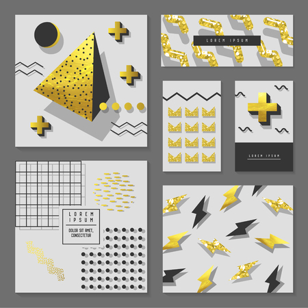 Golden Glitter Geometric Design Set for Invitations, Banners, Greeting Cards. Gold Abstract Patterns with Geometric Elements. Flyer Template, Business Brochure. Vector illustration.