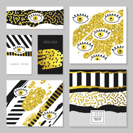Golden Glitter Hand Drawn Design Set for Invitations, Banners, Greeting Cards. Gold Abstract Fashion Patterns with Eyes. Flyer Template, Business Brochure. Vector illustration