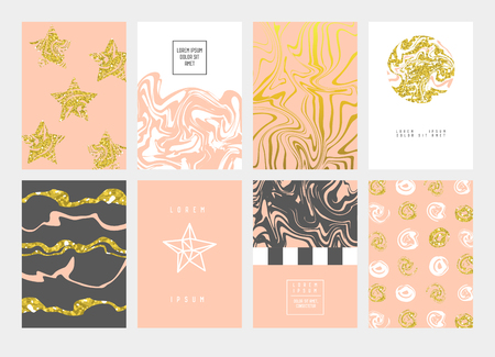 Golden Abstract Cards Design Pastel Colors. Gold Patterns for Placards, Posters, Banners. Greeting Card, Invitation Template, Business Brochure. Vector illustration.