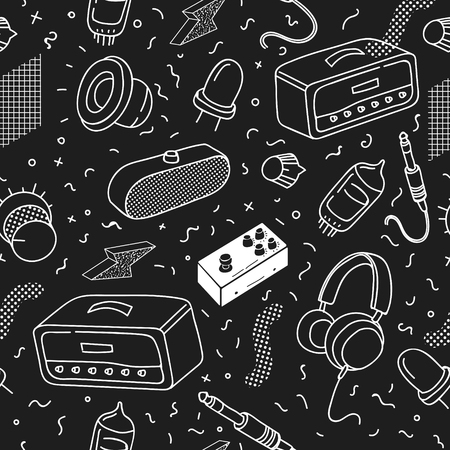 Hipster Vintage Seamless Pattern. Monochrome Memphis Abstract Trendy Background for Fabric, Poster, Covering. Vector illustration. Çizim