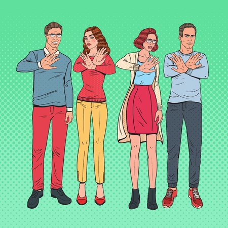 Pop Art Group of People Gesturing Stop Hand Sign. Man and Woman Refusing from Something. Vector illustration Illustration