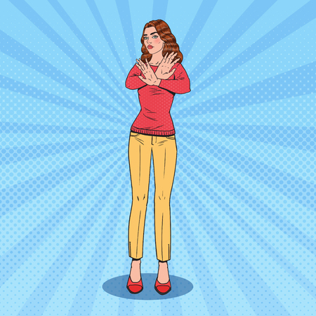 Pop Art Confident Woman Gesturing Stop Hand Sign. Vector illustration