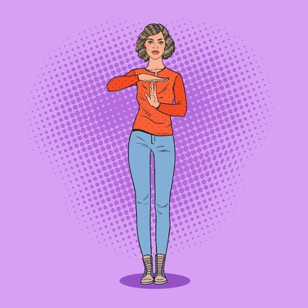 Arte pop mujer joven gesticular tiempo de espera. Ilustración vectorial Foto de archivo - 91795681