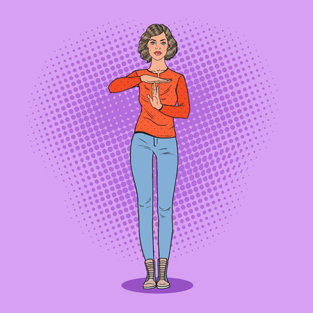 Pop Art Young Woman Gesturing Time Out Sign. Vector illustration