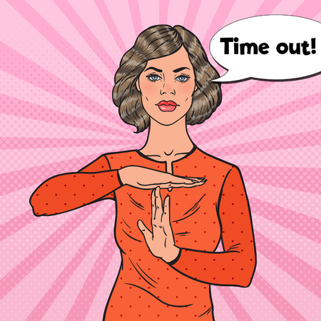 Pop Art Young Woman Showing Time Out Hand Gesture Sign. Vector illustration