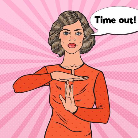 Pop-Art-junge Frau, die heraus Zeit-Handzeichen-Zeichen zeigt. Vektor-Illustration Vektorgrafik