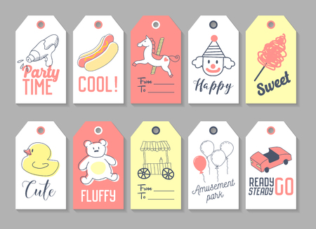 Amusement Park Tags and Labels Set Freehand Style. Childish Hand Drawn Doodle. Vector illustration
