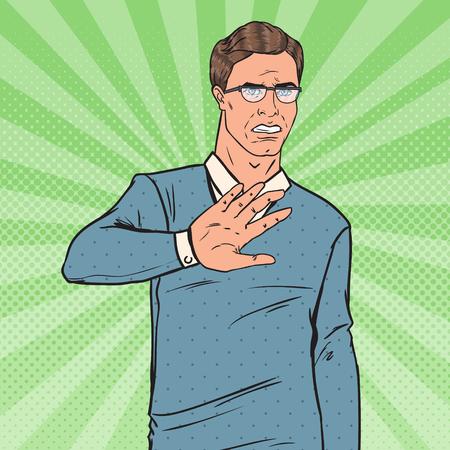 Pop Art Repugnado Man. Indivíduo que mostra o sinal da mão da parada. Ilustração vetorial