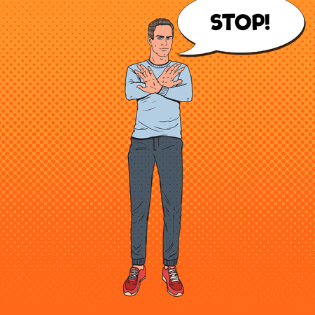 Pop Art Man Gesturing Stop Hand Sign. Guy Refusing from Something. Vector illustration