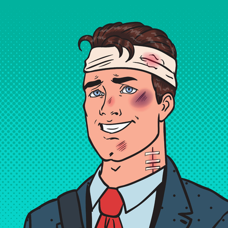 Pop Art Beaten Positive Businessman. Man Bruised Injured. Vector illustration