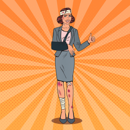 Pop Art Injured Business Woman Smiling. Bandaged Office Female Worker. Vector illustration