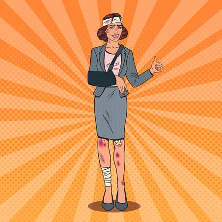 Pop Art Injured Business Woman Smiling. Bandaged Office Female Worker. Vector illustration