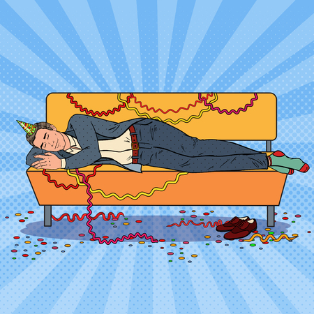 Pop Art Businessman Sleeping on the Sofa after Corporate Office Party. New Year Celebration, Birthday. Vector illustration