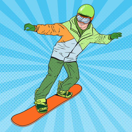 Pop Art Man in Sportswear with Snowboard. Snowboarder Doing Trick. Vector illustration