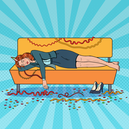 Pop Art Business Woman Sleeping on Sofa after Night Office Party. New Year Celebration, Birthday. Vector illustration Vectores