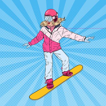팝 아트 여자 스노 스키 슬로프입니다. 스노우 보드와 밝은 운동복에 예쁜 여자입니다. 벡터 일러스트 레이 션