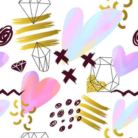 Abstract Memphis Style Seamless Pattern with Pink and Golden Hearts. Valentines Day Background for Greeting Card, Invitation, Poster.