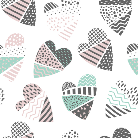 Abstract Memphis Style Seamless Pattern with Hearts.  Valentines Day Concept Background for Fabric Textile, Wrapping Paper.