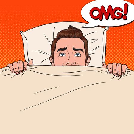 Pop Art Shocked Man versteckt sich im Bett. Angst Mann guckt unter der Decke.
