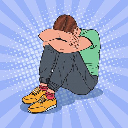 ポップアートは、頭の上に手で床に座って落ち込んだ若者。うつ病と欲求不満。  イラスト・ベクター素材