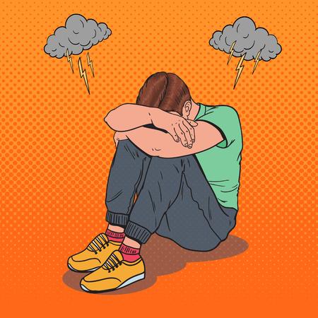 ポップアートは、頭の上に手で床に座っている若者を強調しました。うつ病と欲求不満。