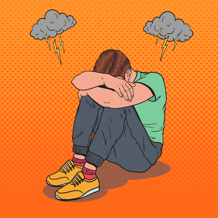 Pop Art Stressed Young Man Sitting on the Floor with Hands on the Head. Depression and Frustration. Vettoriali