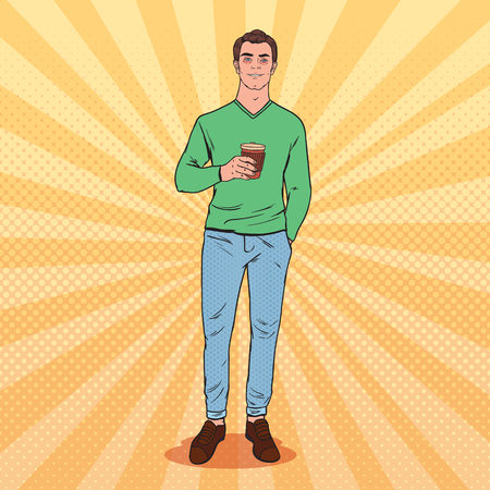 Pop Art Awaked Tired Man with Morning Coffee. Illustration
