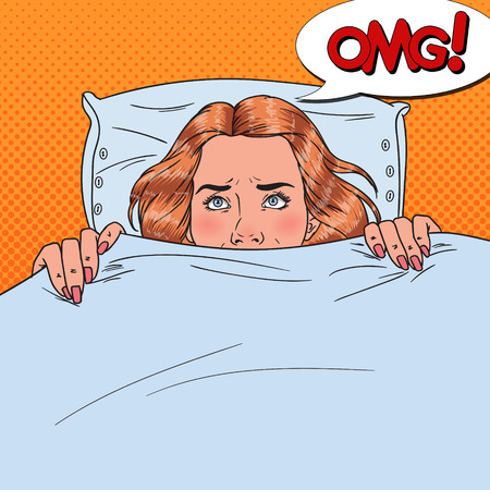 Pop Art Scared Young Woman Hiding in Bed. Afraid Girl Peeps Up Under the Blanket.