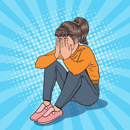 Pop Art Upset Young Girl Sitting on the Floor. Depressed Crying Woman. Illustration
