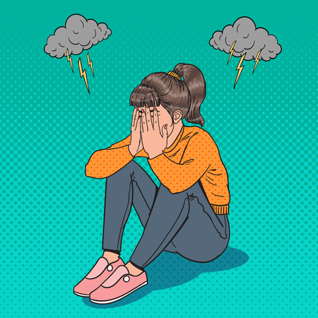 Pop Art verärgert junges Mädchen auf dem Boden sitzen. Deprimierte weinende Frau. Stress und Verzweiflung.
