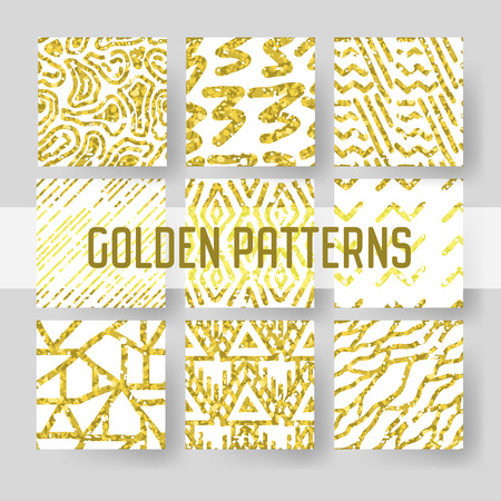 Gold Glitter Seamless Pattern Set. Abstract Golden Hand Drawn Backgrounds for Textile Wallpapers Wrapping.
