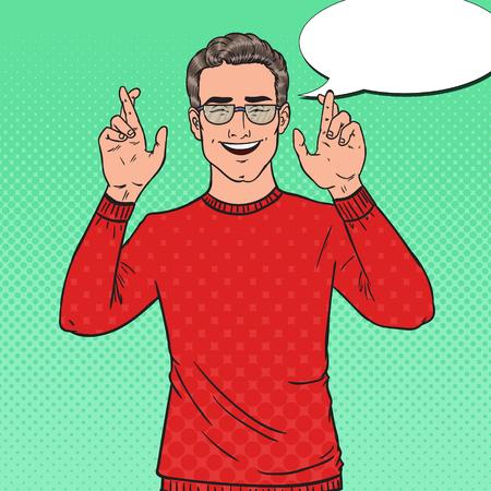 Pop Art beau jeune homme croisé les doigts. Guy Faire un v?u. Illustration vectorielle