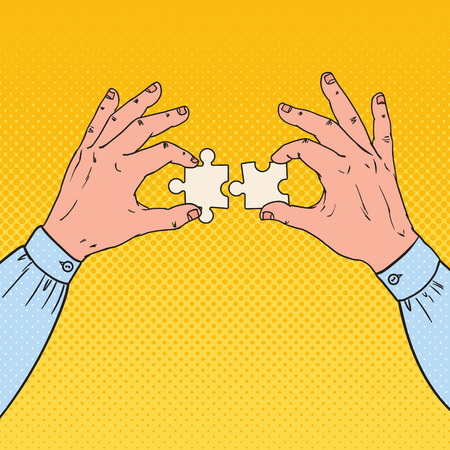 Pop Art Male Hands Holding Two Puzzle Pieces. Business Solution Concept. Ilustração