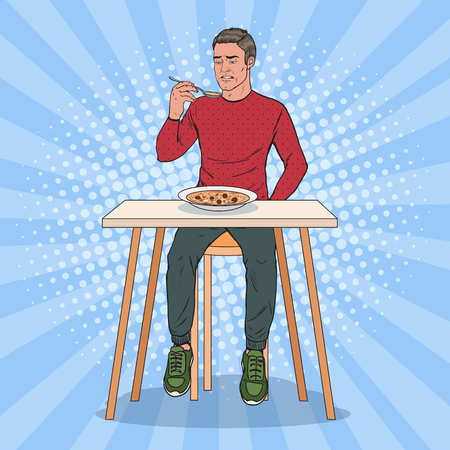 Pop Art Man Eating Soup with Disgusting Face. Tasteless Food. Vector illustration
