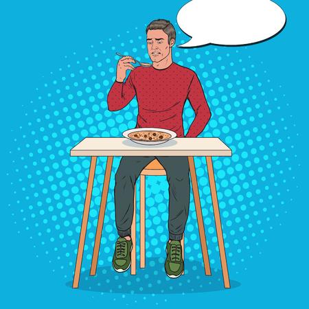 Popart man eet soep met walgelijk gezicht. Smaakloos eten. Vector illustratie Vector Illustratie
