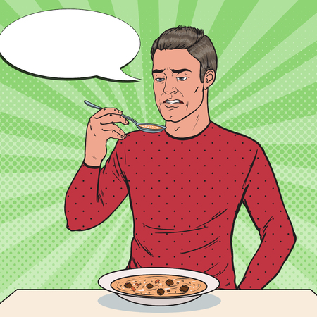 Pop Art Man Tasting Soup with Disgusting Face. Tasteless Food. Illustration