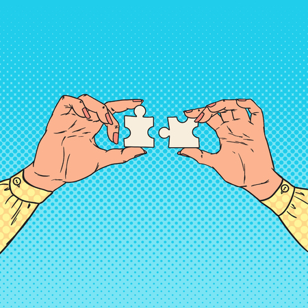 Pop Art Female Hands Holding Two Puzzle Pieces. Business Solution Concept. Illustration