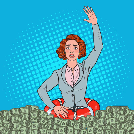 Pop Art Successful Woman Sinking in Money. Businesswoman with Lifebuoy.