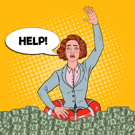 Pop Art Femme réussie s'enfonçant dans l'argent. Femme d'affaires avec une bouée de sauvetage demandant de l'aide.