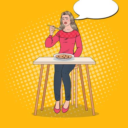 Pop Art Woman Eating Soup con faccia disgustosa. Cibo insapore. Archivio Fotografico - 93809893